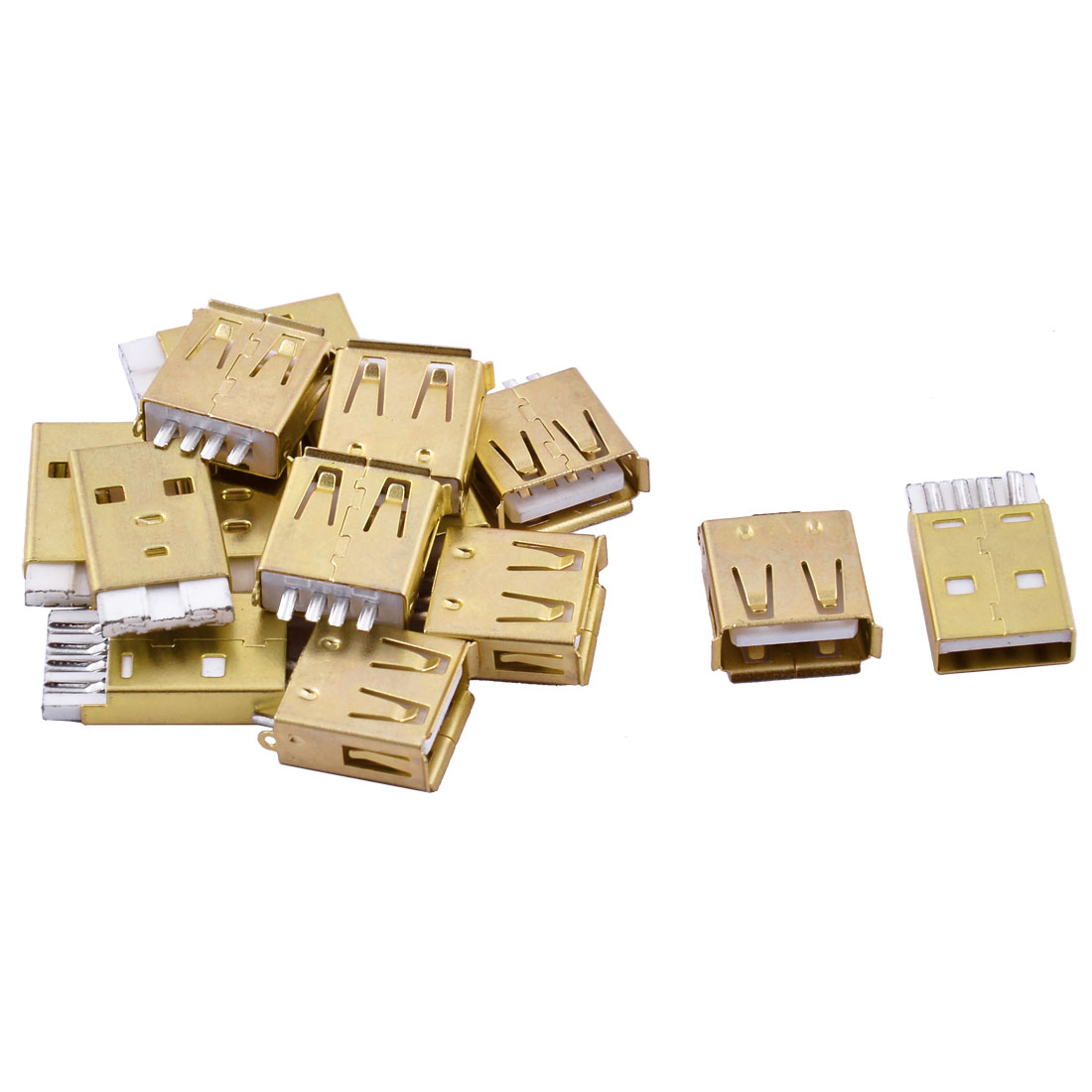 USB2.0 Type A 4 Pins Male to Female Jack Socket Connectors 7 Pairs Gold Tone