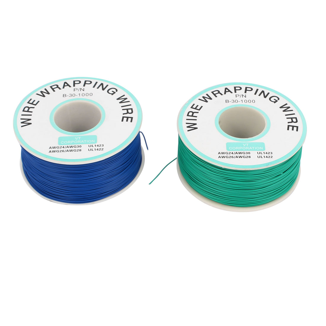 2 Pcs High Temperature Resistant Wraping Wire B-30-1000 Green Blue