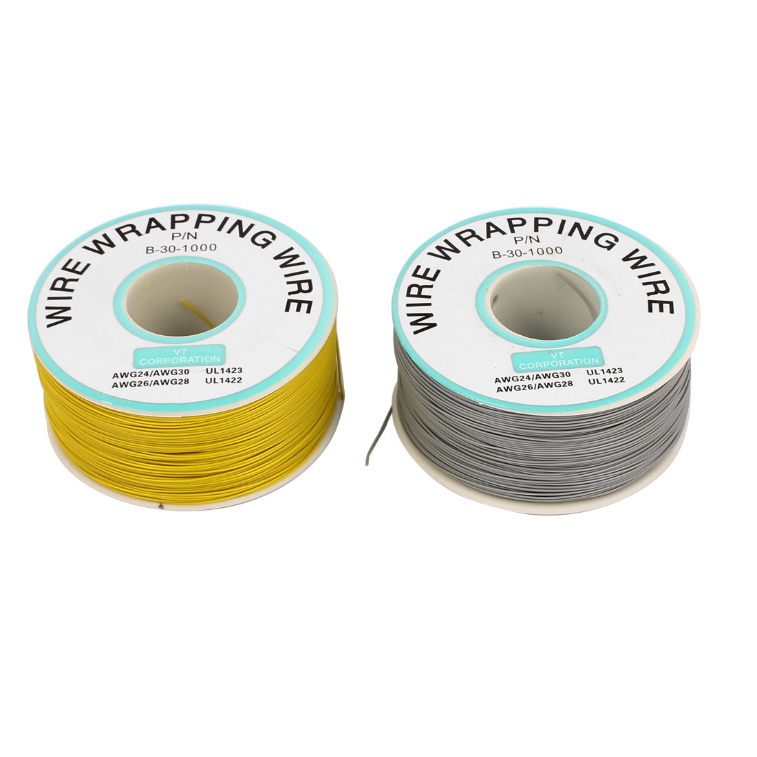 2 Pcs High Temperature Resistant Wraping Wire Cable Cord Yellow Grey