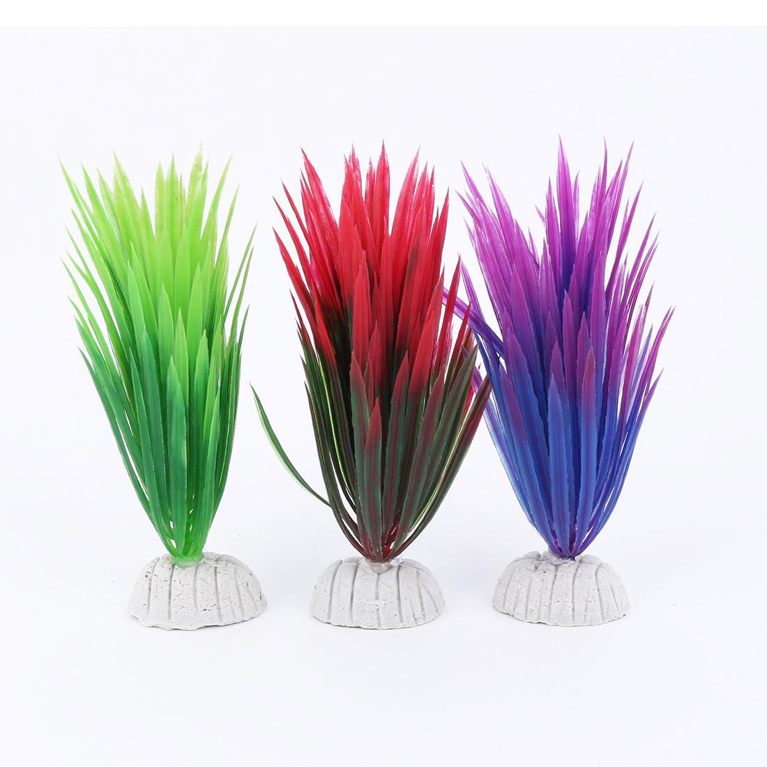 Plastic Fish Tank Emulational Water Grass Plants Decoration Colorful 3 Pcs