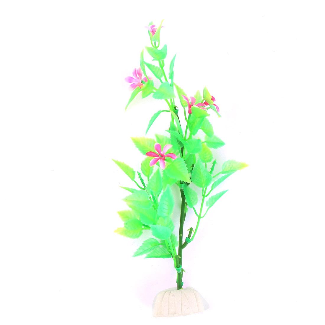 Plastic Fish Tank Emulational Water Plants Flower Decoration Green Pink
