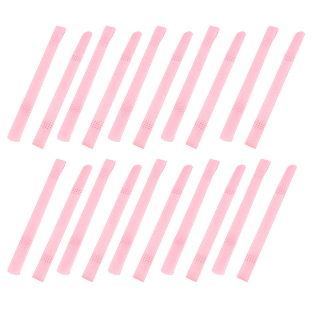 Nylon Reusable Fastener Hook Loop Tie Strap Cable Band Belt Pink 20 Pcs