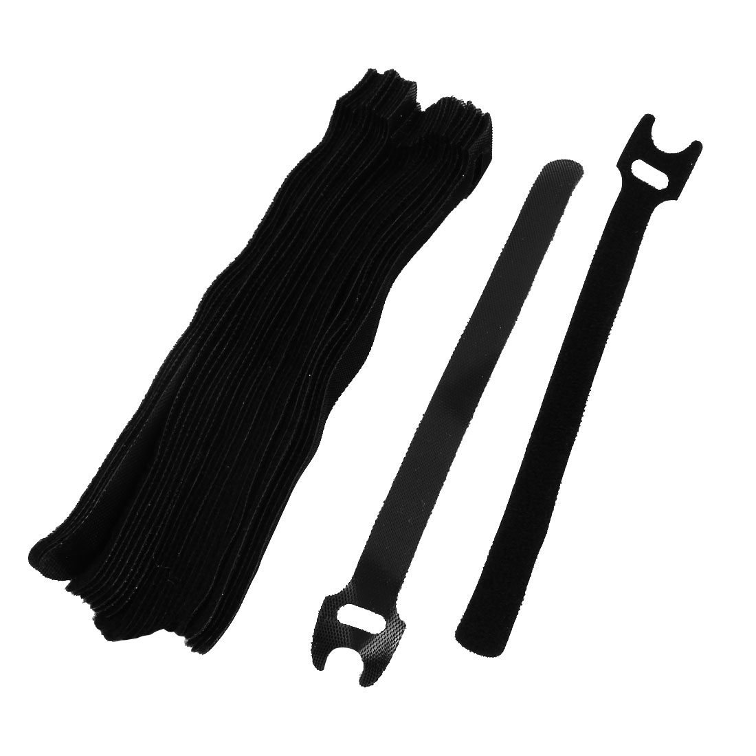 Nylon Reusable Fastener Hook Loop Tie Strap Cable Band Belt Black 30 Pcs