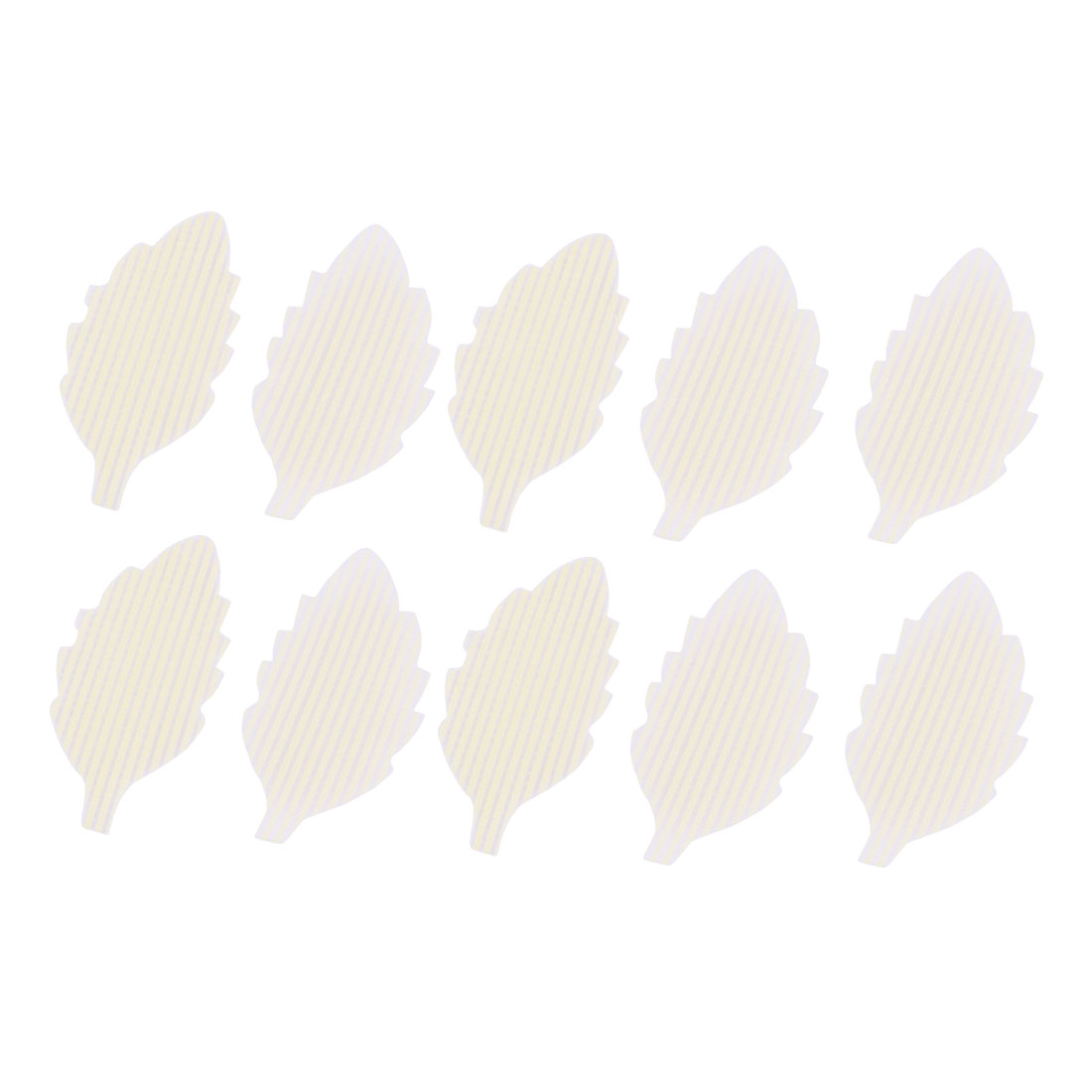 Lady Plastic Leaf Shape Magic Paste Bangs Clip Fringe Hair Sticker Beige 10 Pcs