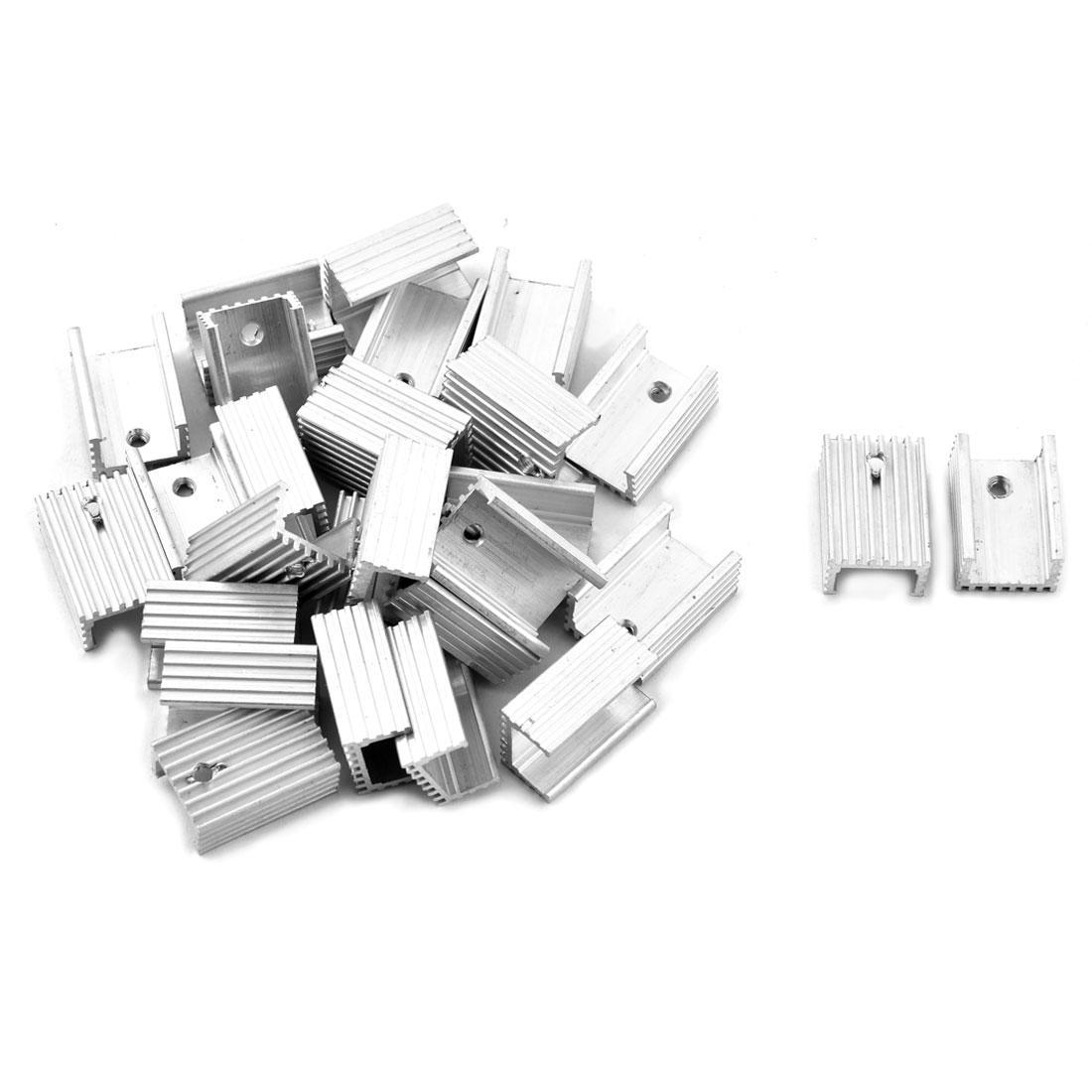Aluminium Heatsink Cooling Fin Cooler Silver Tone 22mm x 15mm x 10mm 28 Pcs