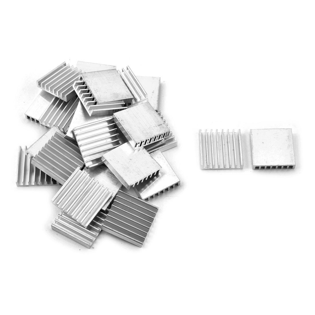 Aluminium Heat Diffuse Cooling Fin Cooler Silver Tone 25mm x 25mm x 5mm 28 Pcs