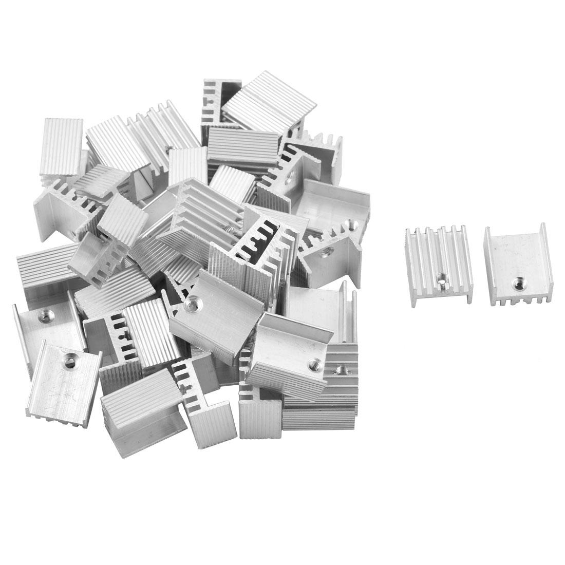 Aluminium Heat Diffuse Cooling Fin Cooler Silver Tone 17mm x 15mm x 10mm 42 Pcs
