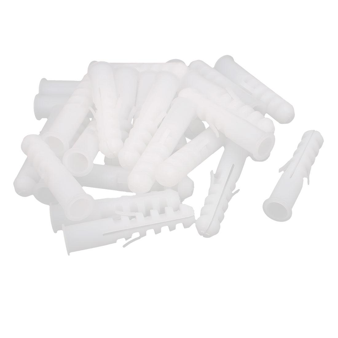 Cabinet Plastic Lag Screws Anchor Expansion Nails White 9mm Dia 26 Pcs