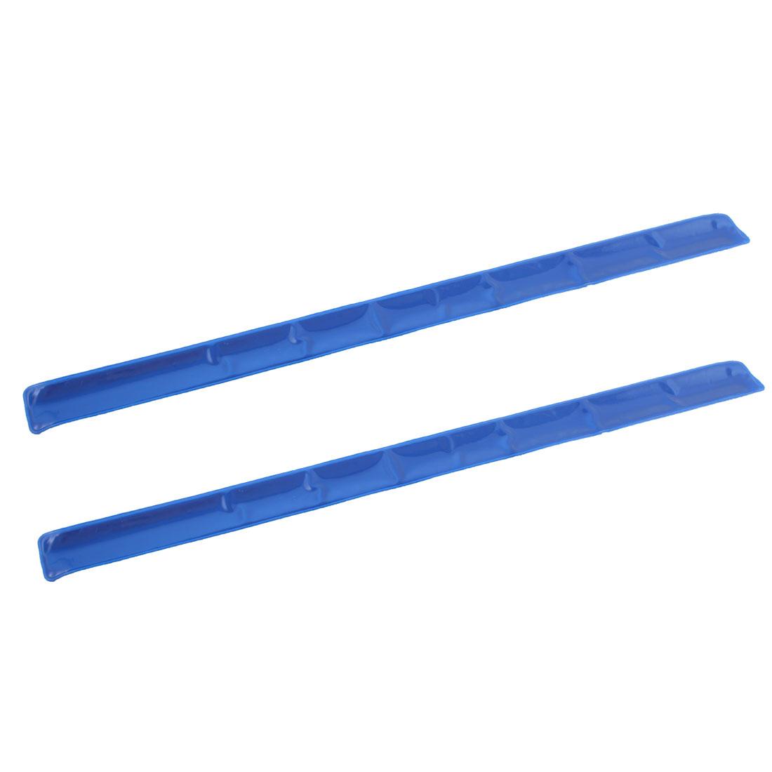 Cycling Running Night Glow Reflective Slap Wrap Bracelets Wristbands Blue 2 Pcs