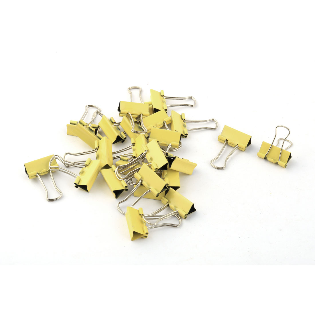 Office Supplies Student Folder Paper Money Bulldog Clip Yellow Silver Tone 25pcs