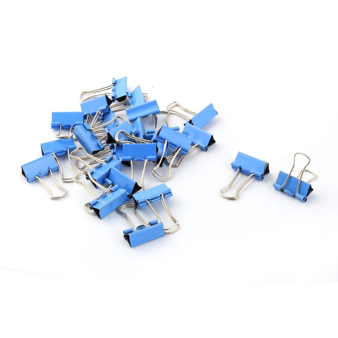 Office Supplies Folder Paper Money Bulldog Clip Blue Silver Tone 25pcs