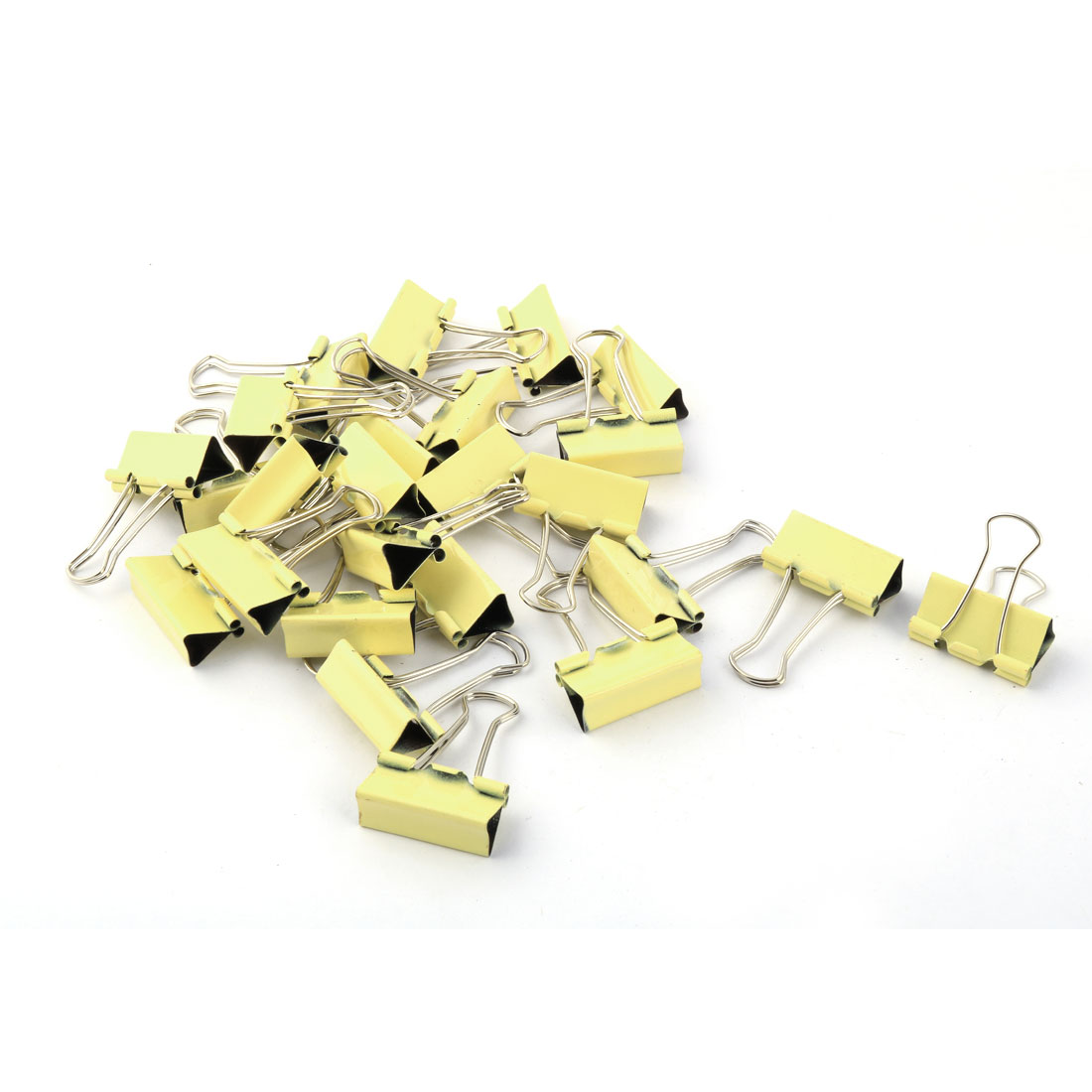 Office Supplies Student Folder Paper Money Binder Clip Yellow Silver Tone 25pcs