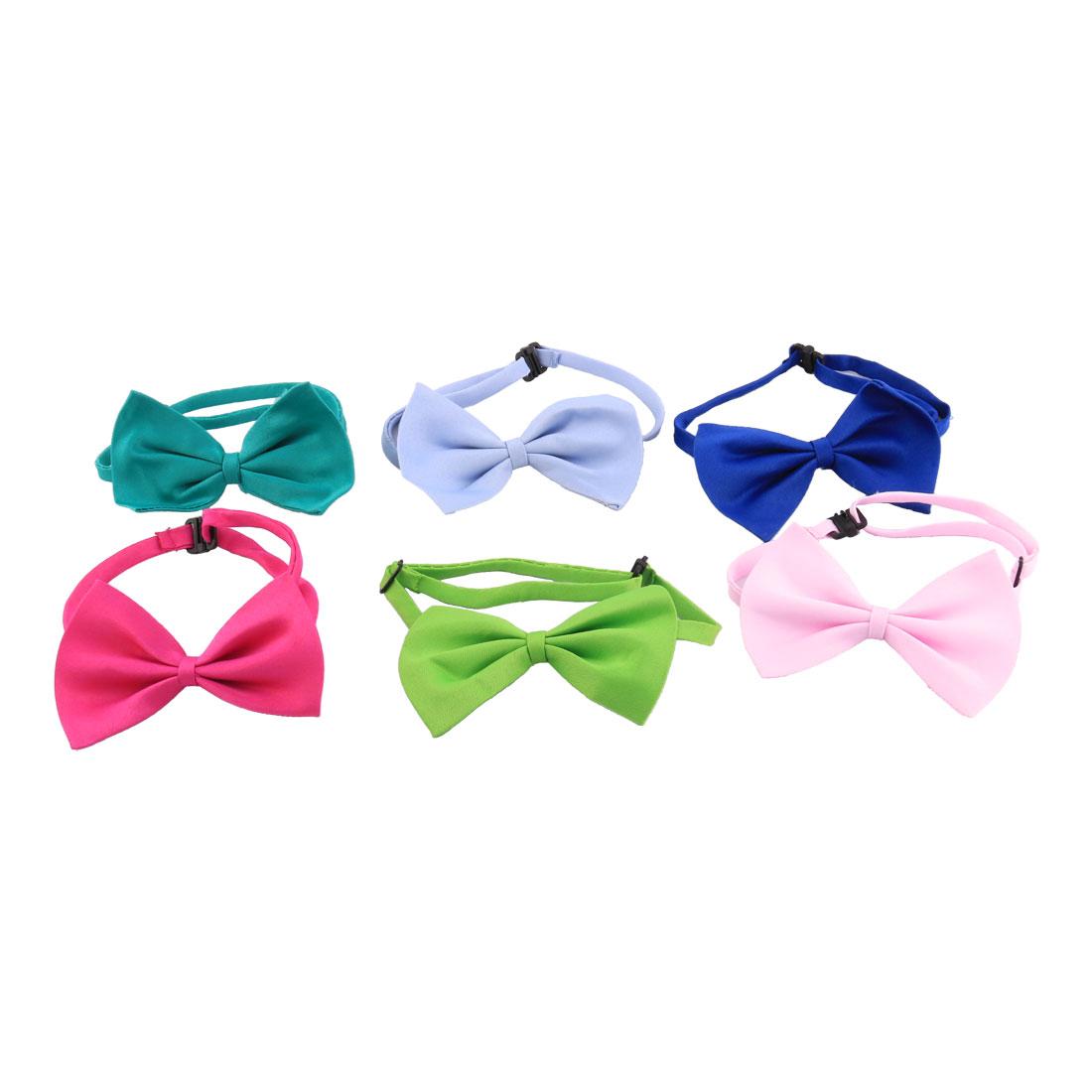 Pet Dog Cat Adjustable Bowtie Decor Necktie Collar Assorted Color 6pcs