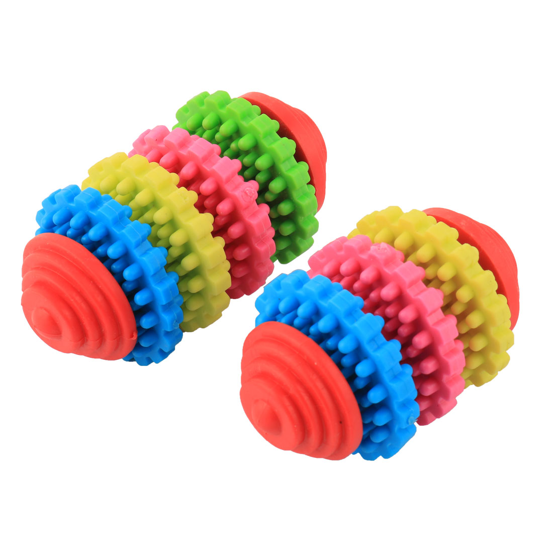Pet Dog Doggy Puppy Spike Gear Chew Toy Play Teeth Clean Multicolor 2 in 1