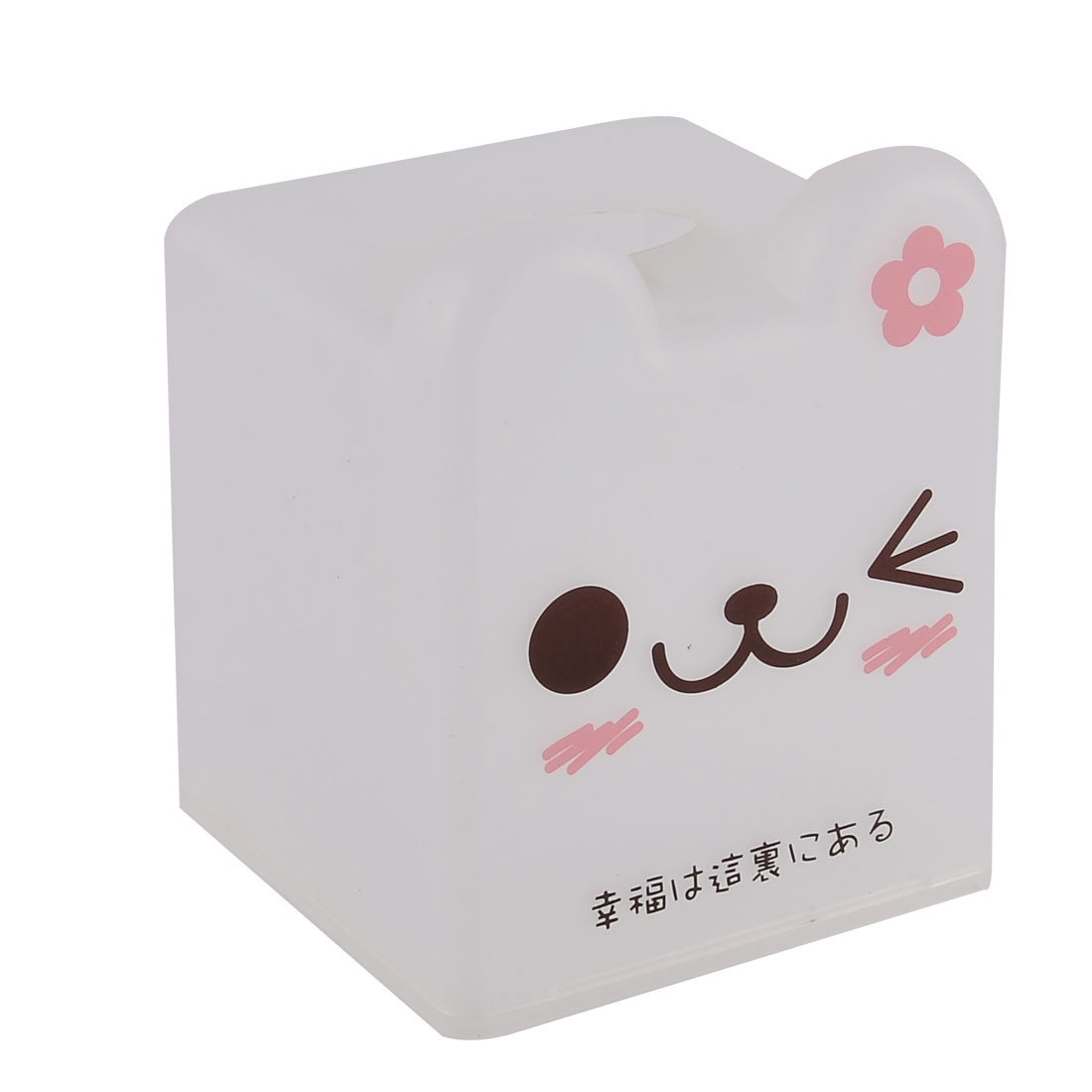 Household Bathroom Square Shaped Kitty Pattern Napkin Roll Tissue Paper Box Case Holder Cover Storage White