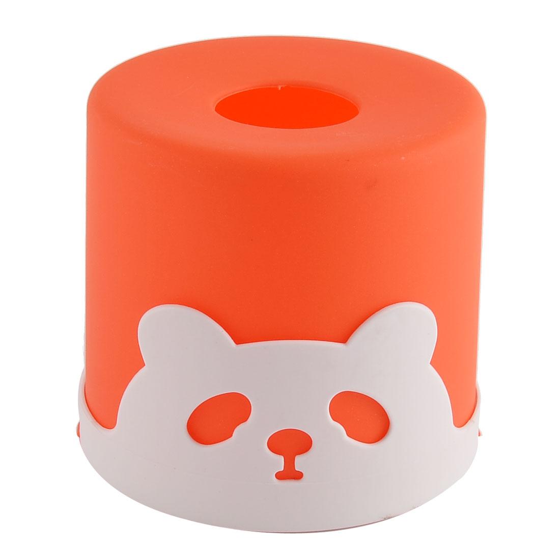 Household Car Plastic Round Panda Pattern Napkin Roll Tissue Paper Box Case Holder Cover Orange