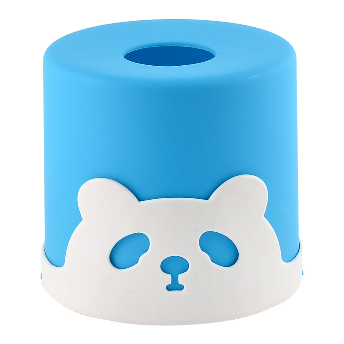Household Car Plastic Round Panda Pattern Napkin Roll Tissue Paper Box Case Holder Cover Blue
