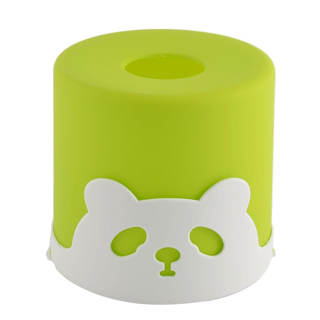 Household Car Plastic Round Panda Pattern Napkin Roll Tissue Paper Box Case Holder Cover Green