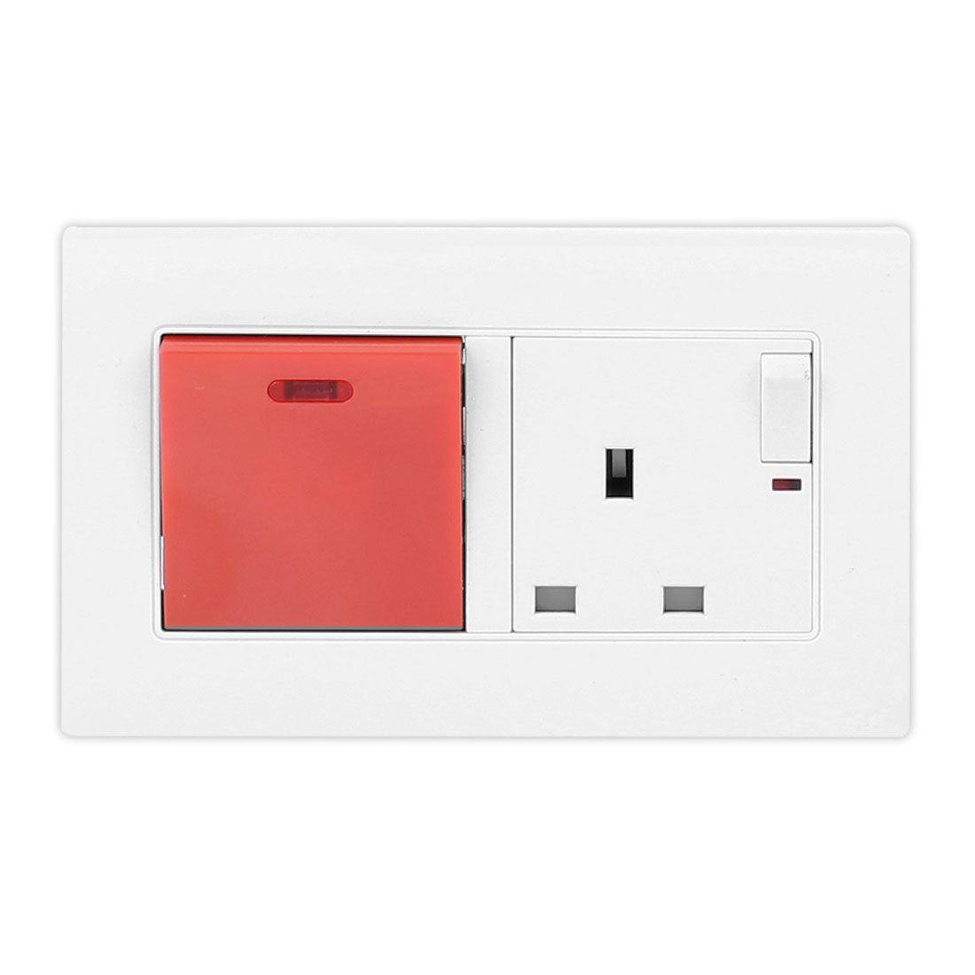 250V 45A Red ON/OFF Big Switch 250V 13A White Wall Socket w Small ON/OFF Switch