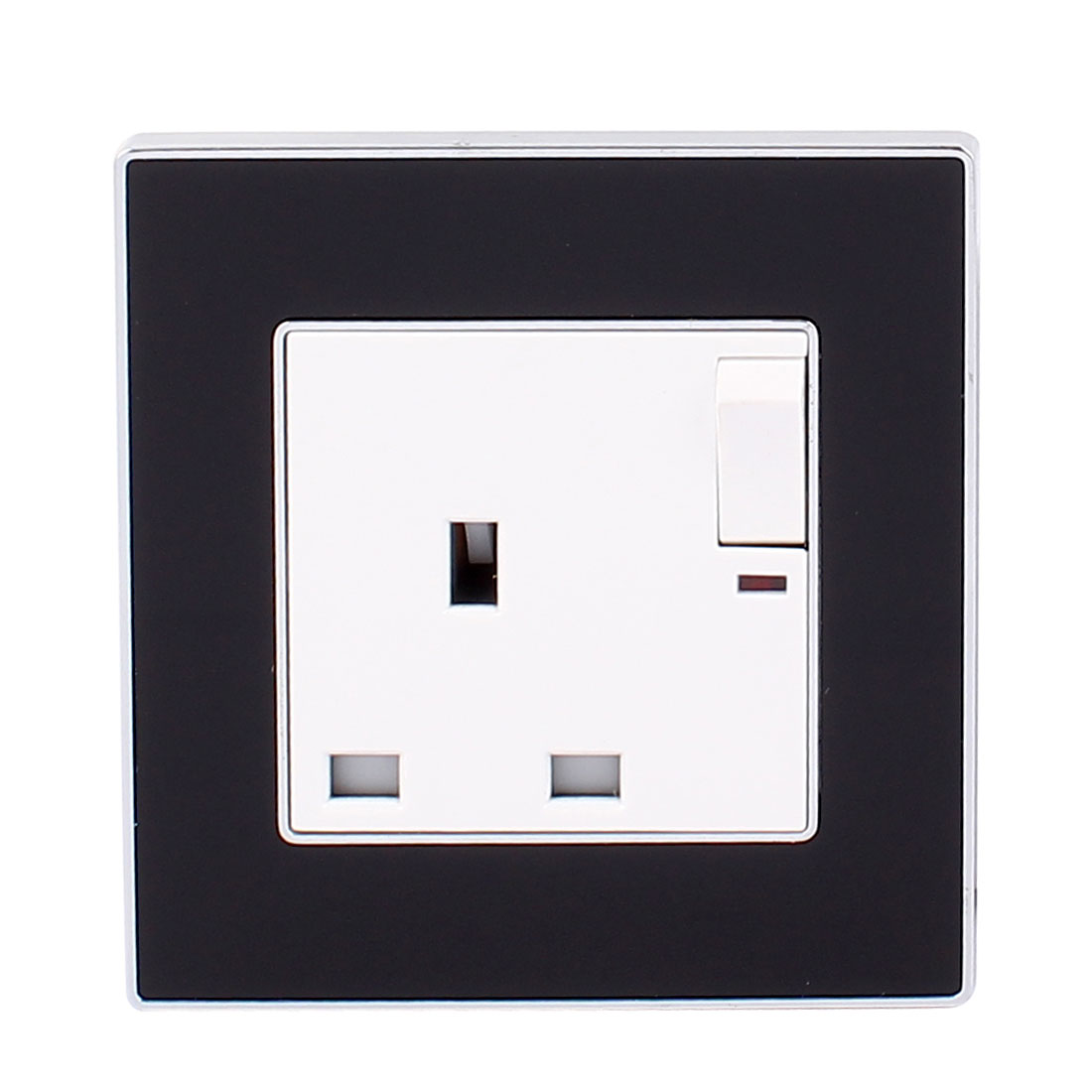 AC 13A 250V Black White Wall Plate Wall Mounted Socket w Red Light White Swich