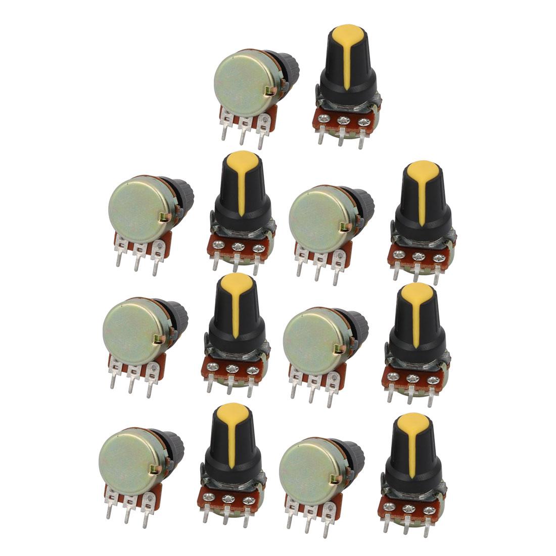 14pcs B10K 10K ohm 3 Terminal Single Linear Rotary Audio Taper Potentiometer