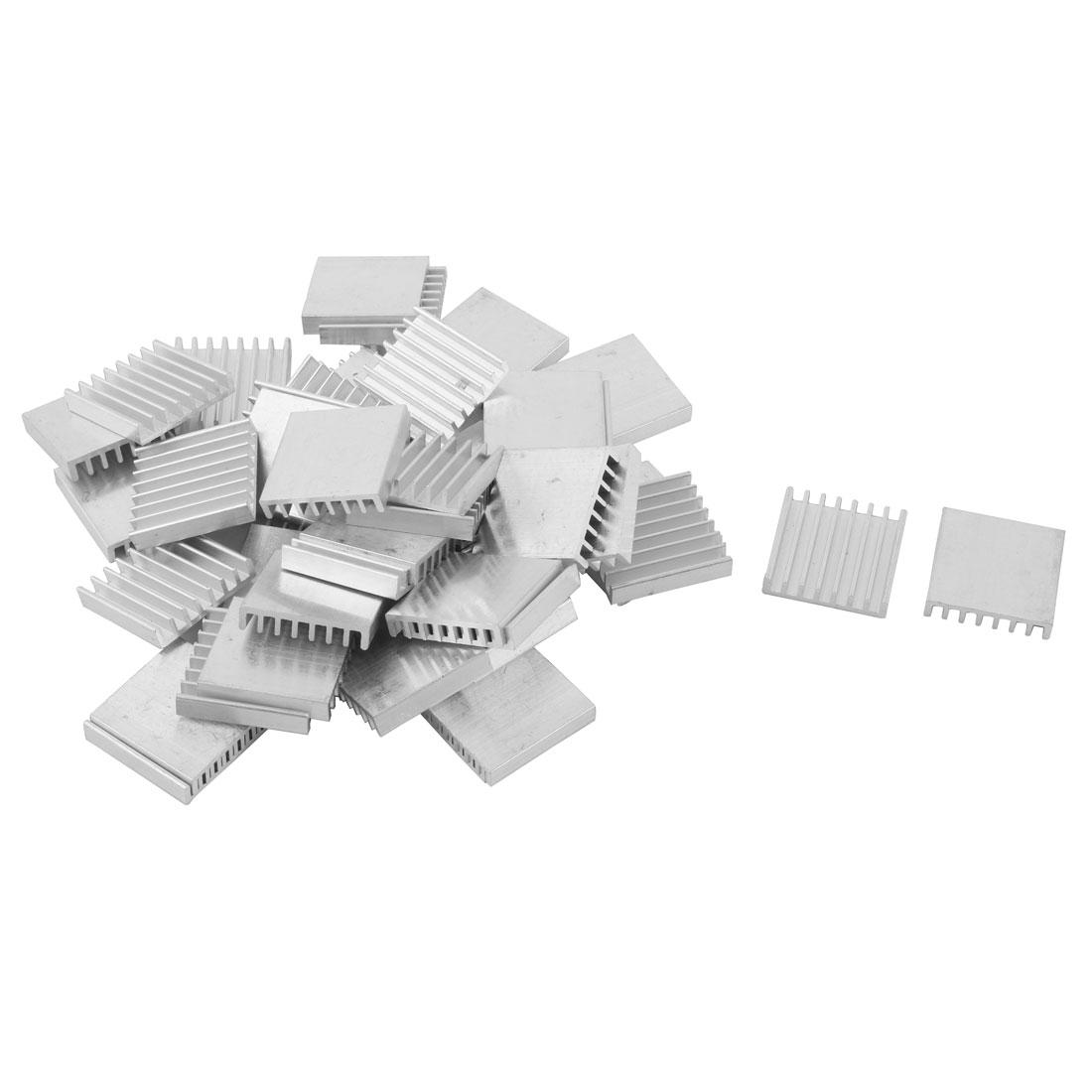 Aluminium Heats Dissipate Cooling Fin Cooler Silver Tone 25mm x 25mm x 5mm 45pcs