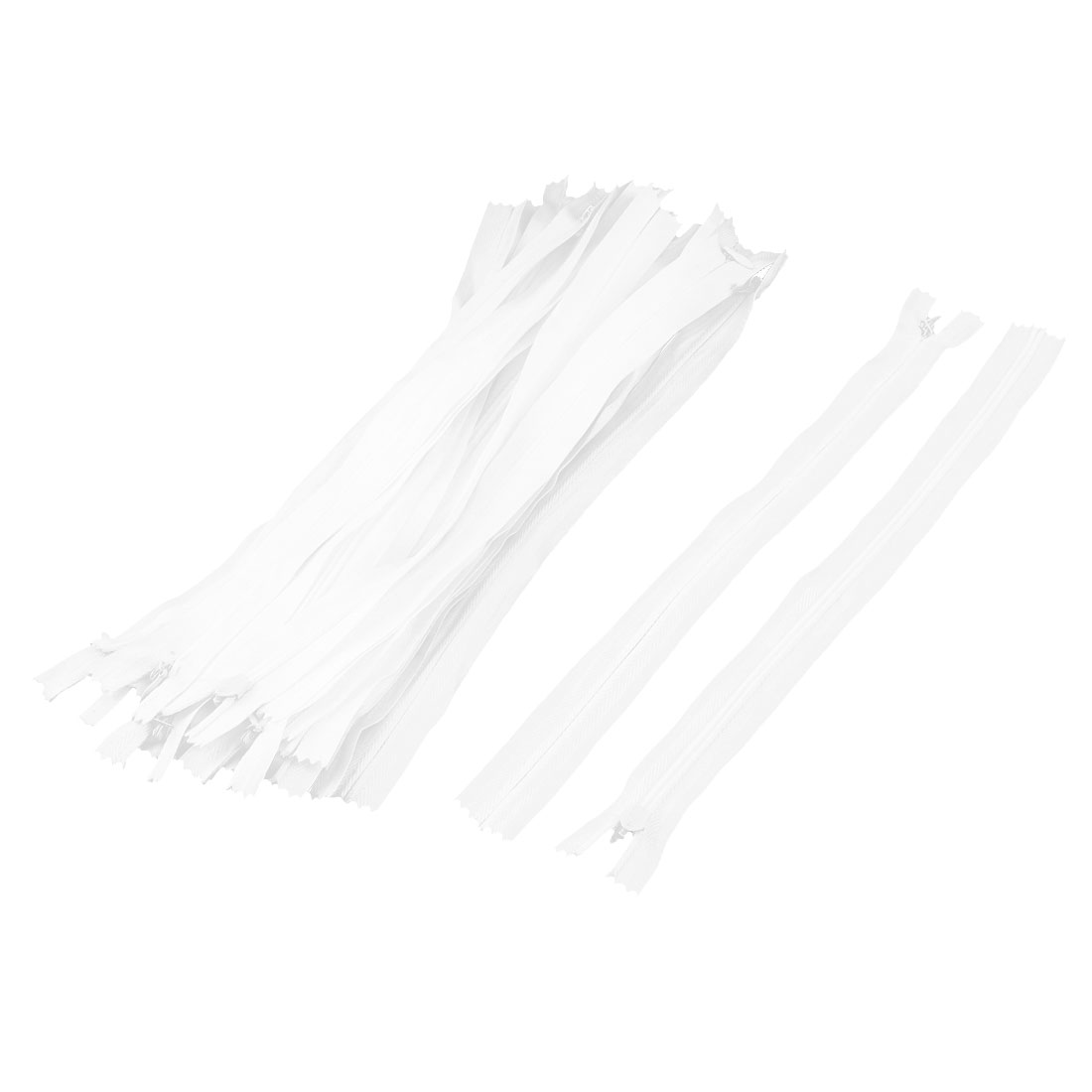 Replacement Polyester Invisible Style Clothes Trousers Zip Fastener White 23 Pcs