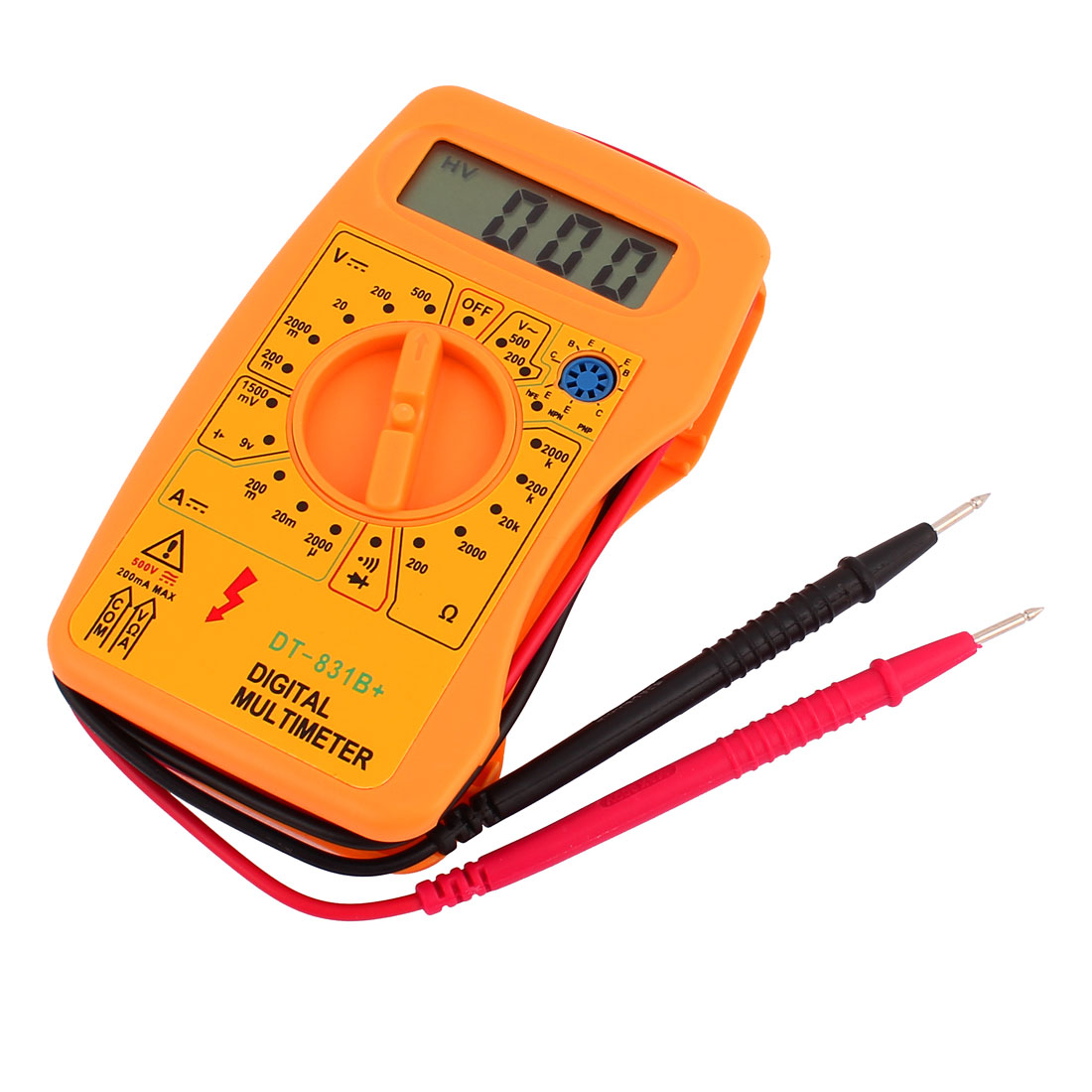 DT831B LCD Display Digital Multimeter AC DC Voltmeter Amp/Ohm/Volt Tester Orange