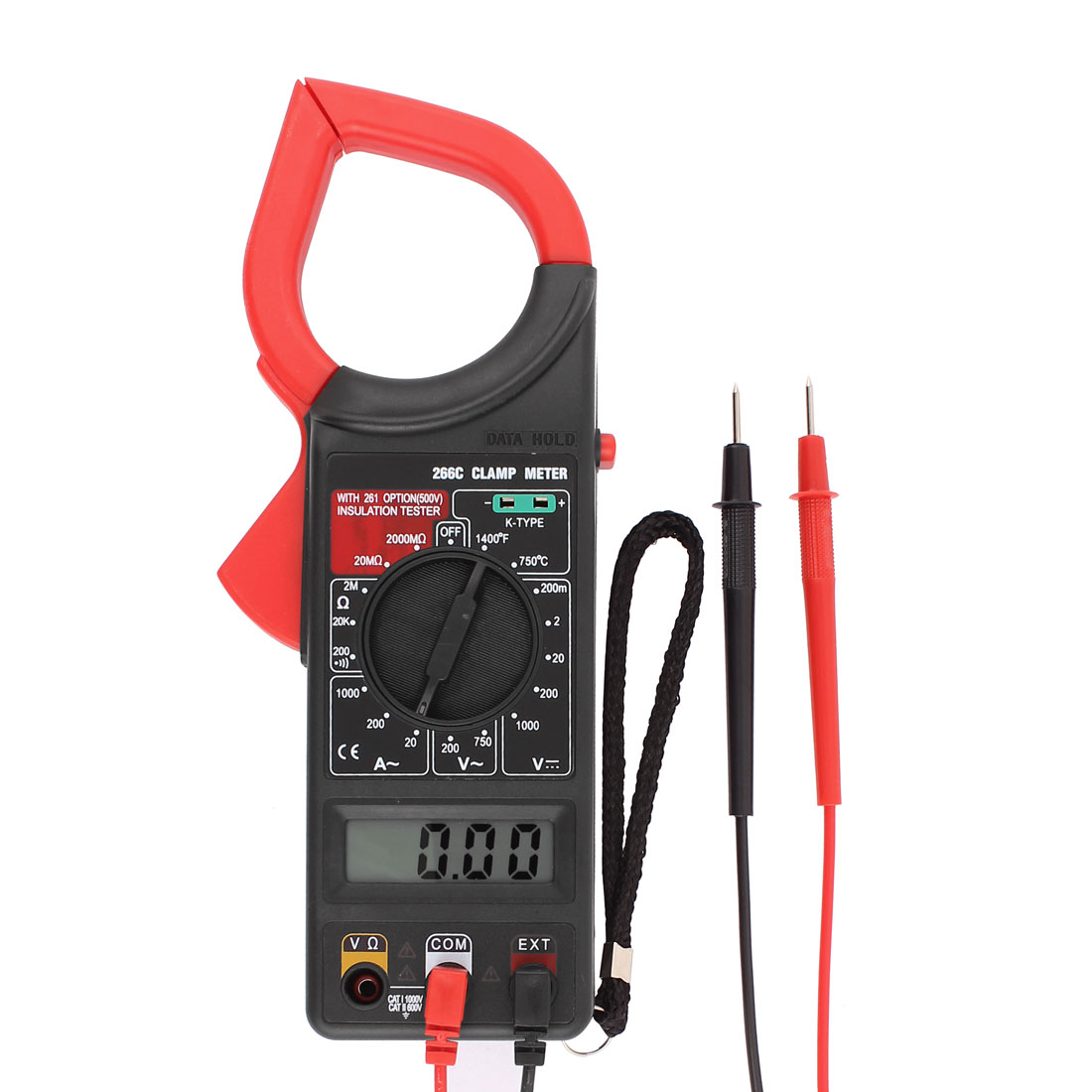 DT266C Plastic Housing Ohm Volt Amplifier LCD Display Clamp Meter Black Red