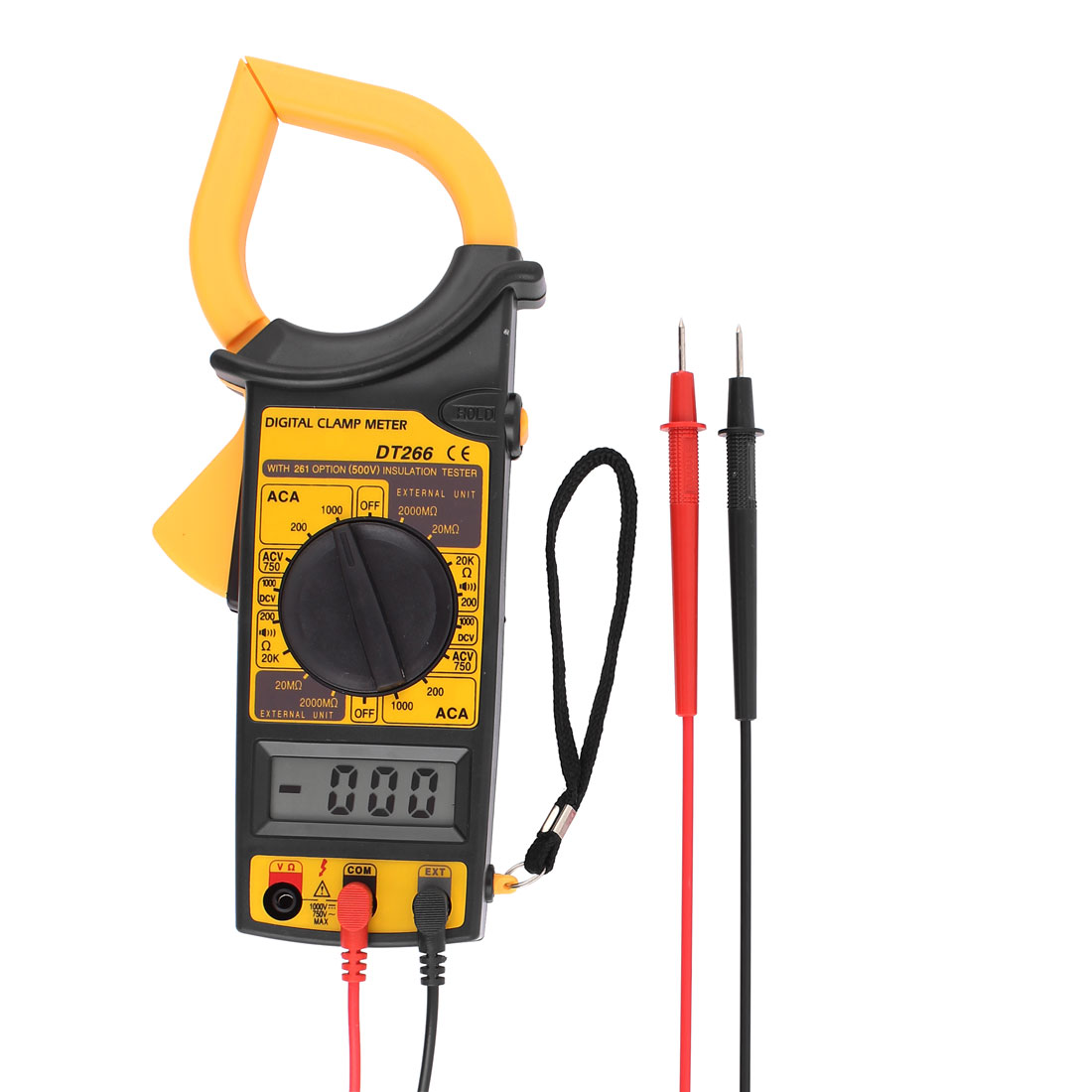 DT266 Plastic Housing Ohm Volt Amplifier LCD Display Clamp Meter Black Yellow