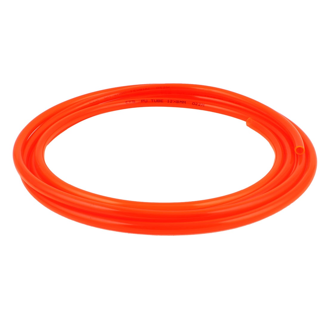 12mm x 8mm Clear Orange Fleaxible PU Tube Pneumatic Polyurethane Hose 4M Long