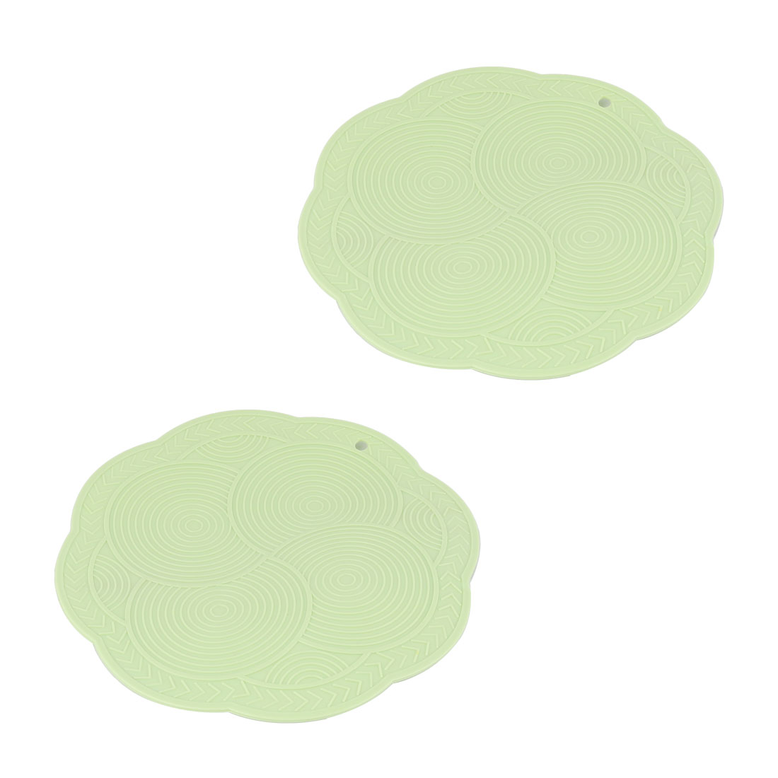 Household Kitchenware Tableware Rubber Water Heat Insulation Resistant Pad Mat Light Green 2pcs