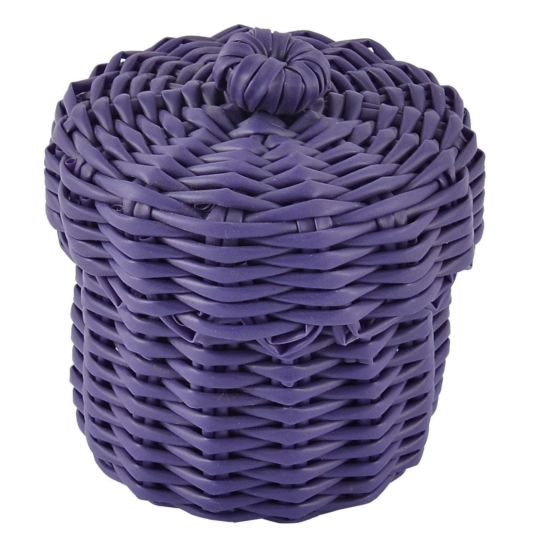 Home Office Plastic Knit Gathering Settle Storage Box Case Basket w Lid Purple