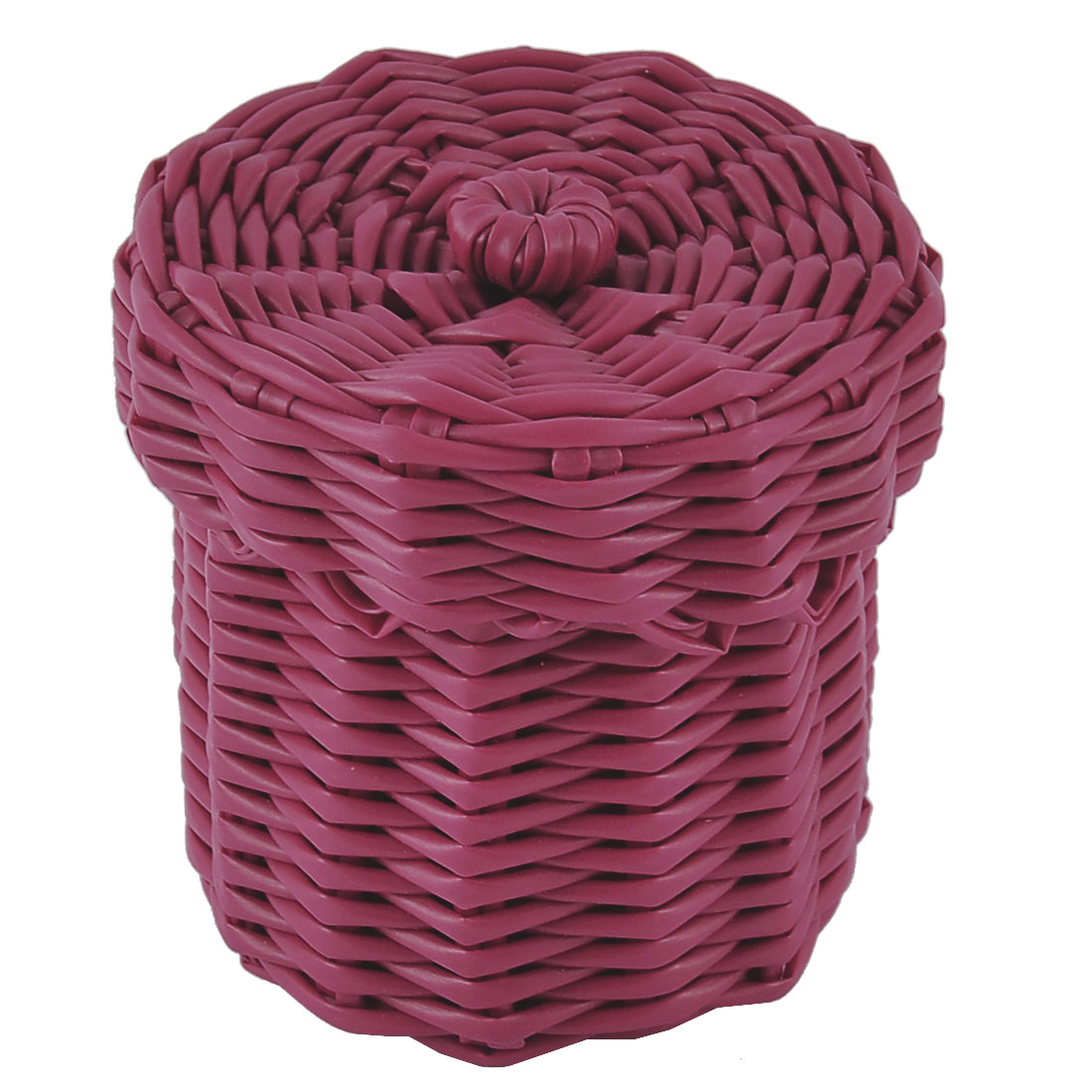 Home Office Plastic Knit Gathering Settle Storage Box Case Basket w Lid Red