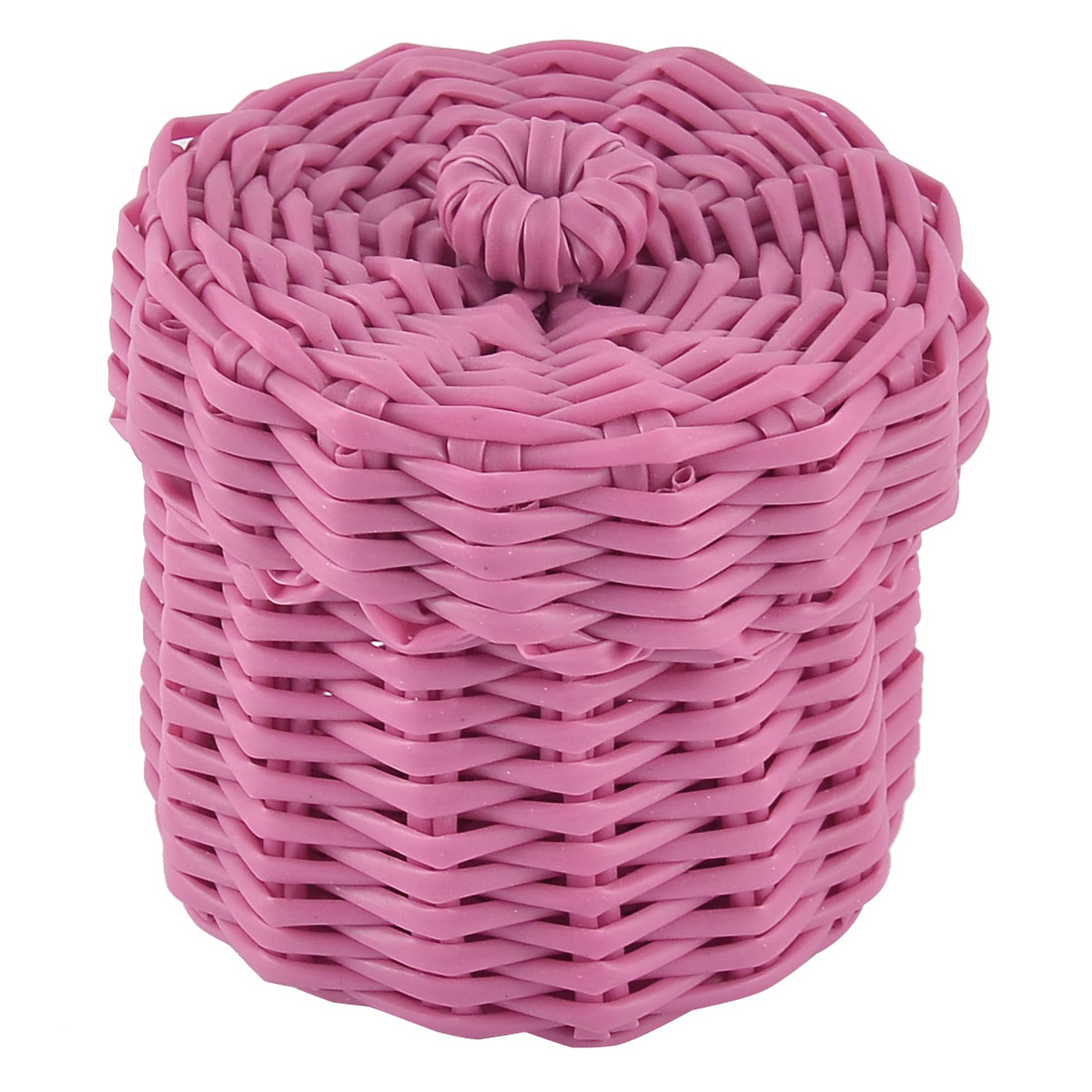 Home Office Plastic Knit Gathering Settle Storage Box Case Basket w Lid Pink