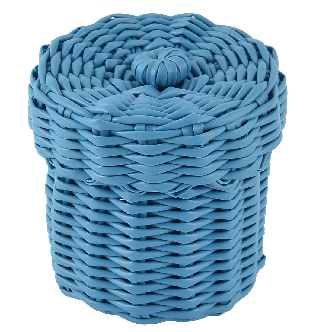 Home Office Plastic Knit Gathering Settle Storage Box Case Basket w Lid Blue