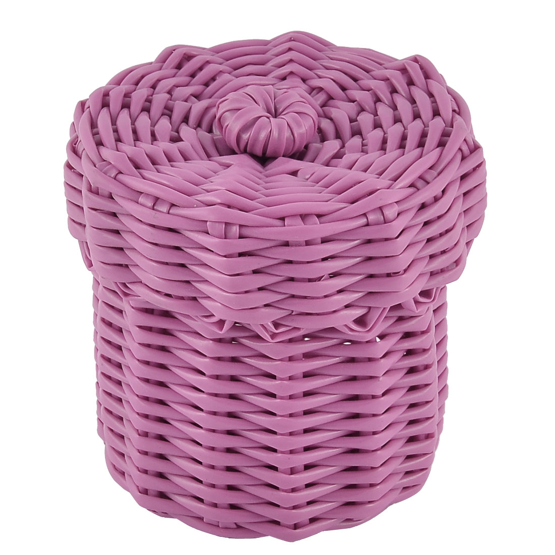 Home Office Plastic Knit Gathering Settle Storage Box Case Basket w Lid Hot Pink