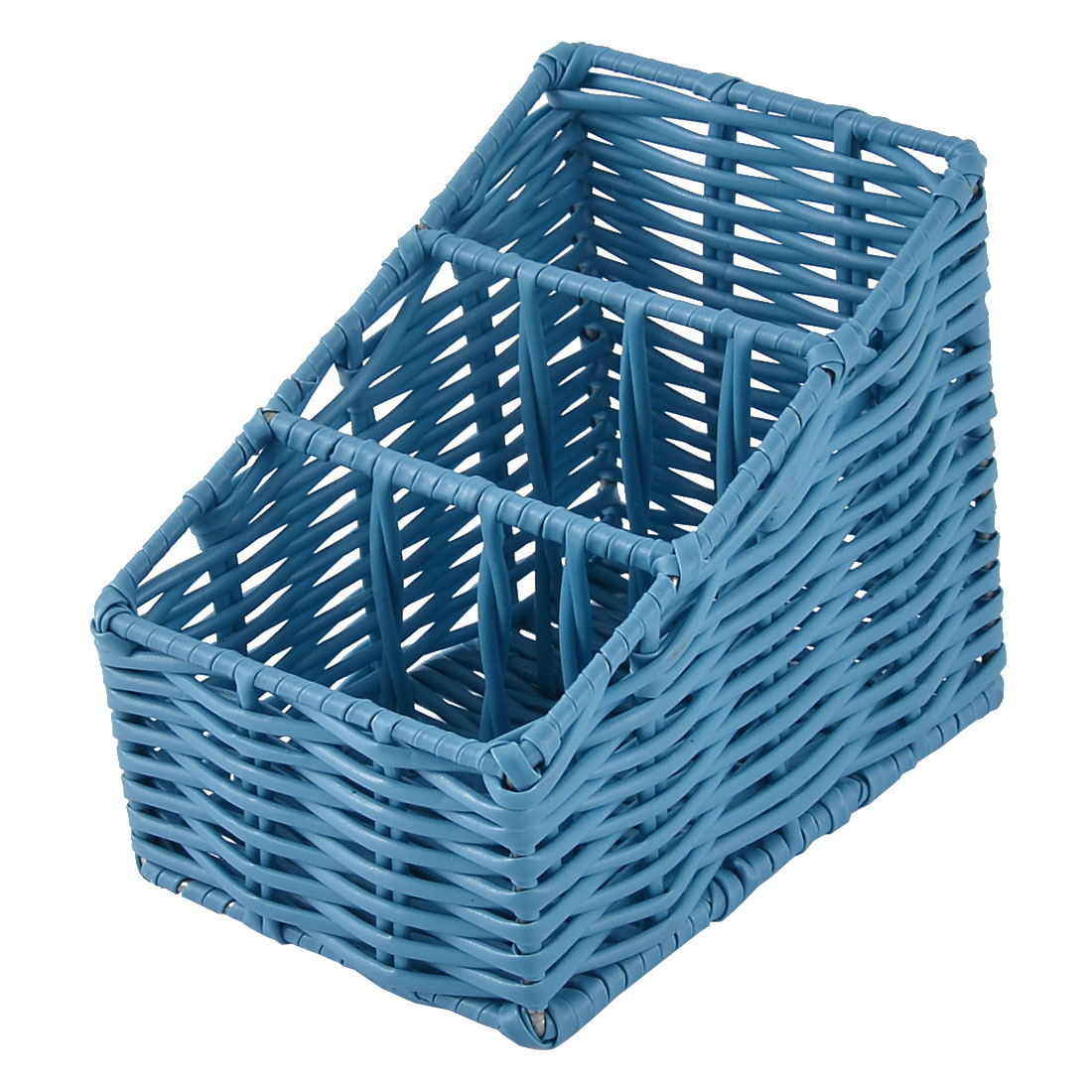 Kitchen Desk Household Plastic 3 Grids Woven Organizer Storage Box Case Basket Blue