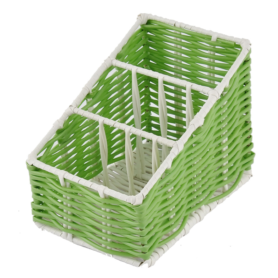 Kitchen Desk Household Plastic 3 Grids Woven Organizer Storage Box Case Basket Green
