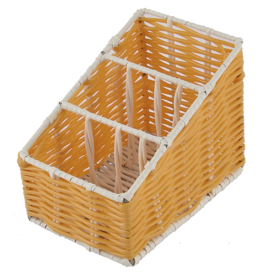 Kitchen Desk Household Plastic 3 Grids Woven Organizer Storage Box Case Basket Orange