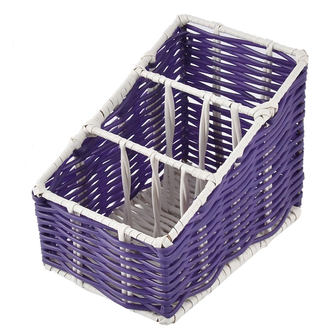Kitchen Desk Household Plastic 3 Grids Woven Organizer Storage Box Case Basket Purple