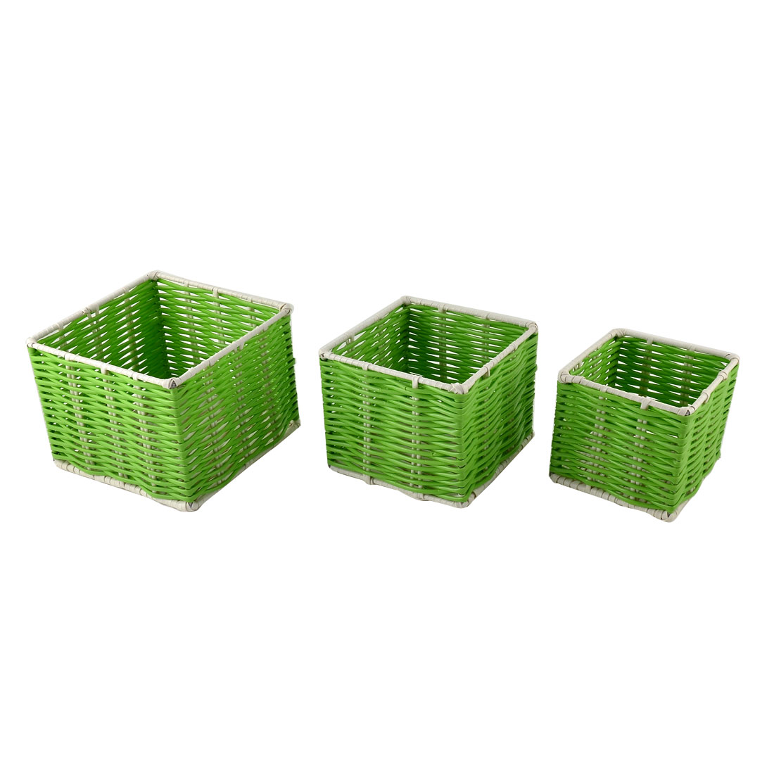 Hosehold Office School Plastic Perforated Stationery Storage Basket Container 3 in 1 Green