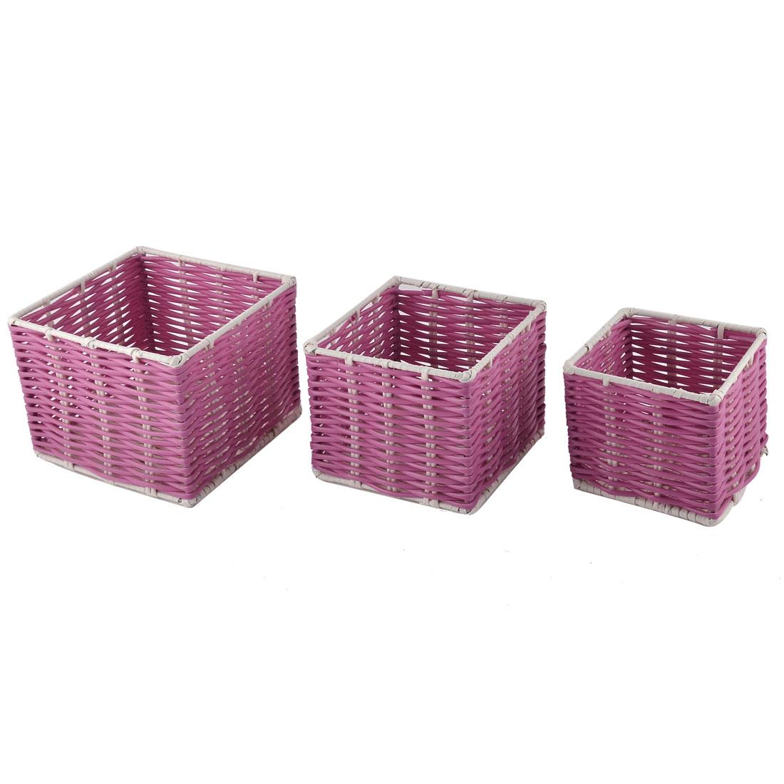 Houseware Dormitory Pencil Pen Plastic Storage Basket Container Holder Fuchsia 3 in 11