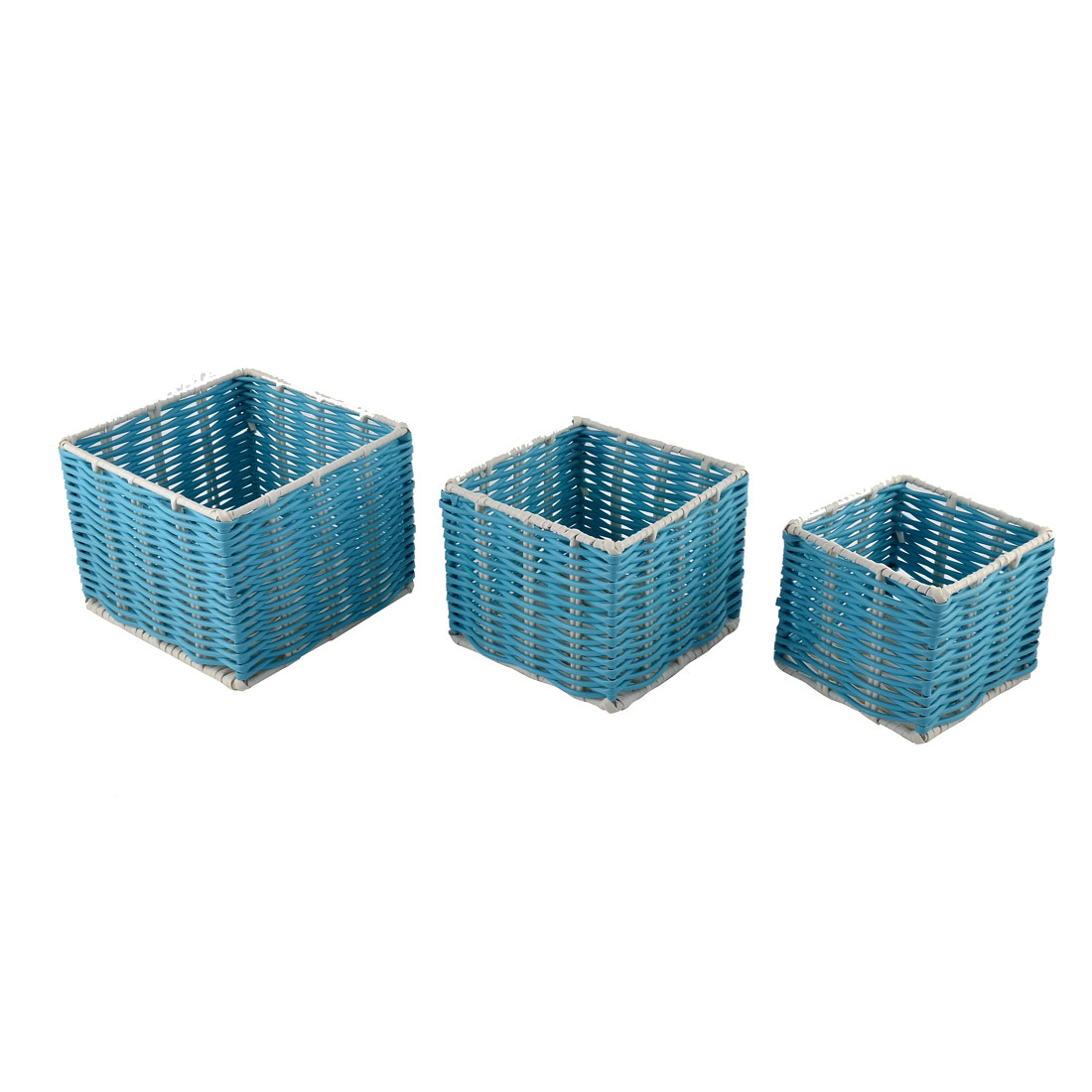 School Office Plastic Fance Design Hollow Storage Basket Container Blue 3 in 1
