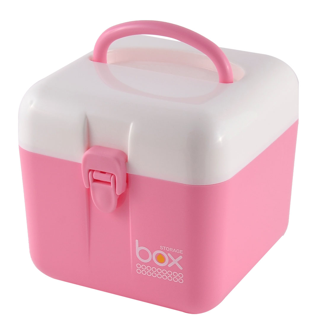 Office School Jewelry Key Coins Plastic Storage Organizer Box Case Pink