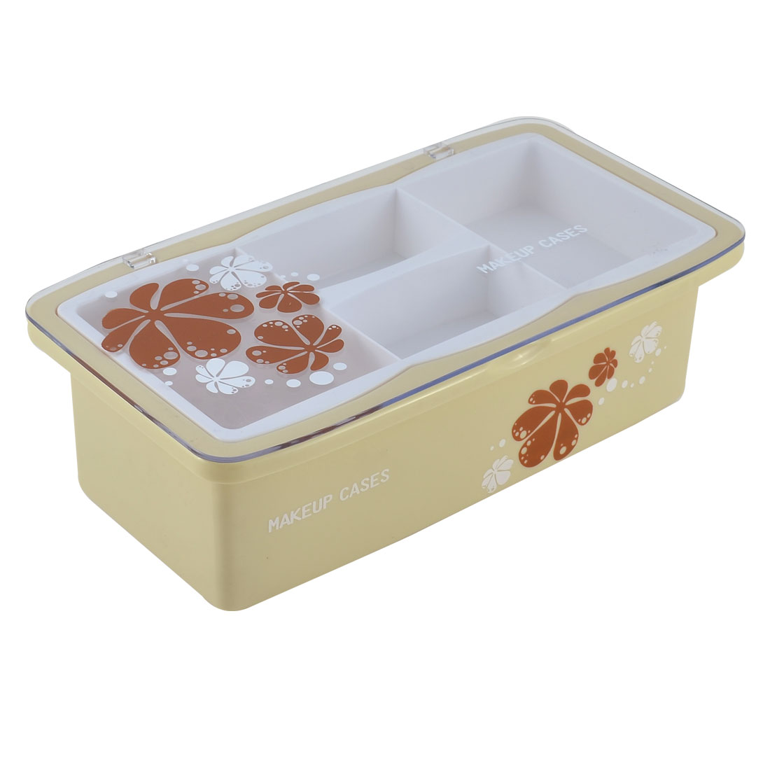 Pale Yellow Plastic Rectangle Double Layers Makeup Cosmetic Storage Box Case Organizer Holder