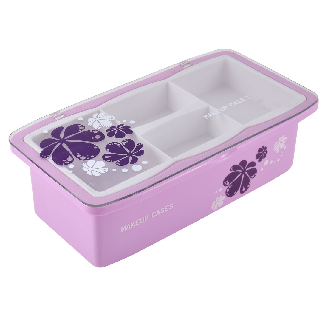 Lady Flower Pattern Plastic 4 Compartments Makeup Storage Case Box Organizer Container Light Purple