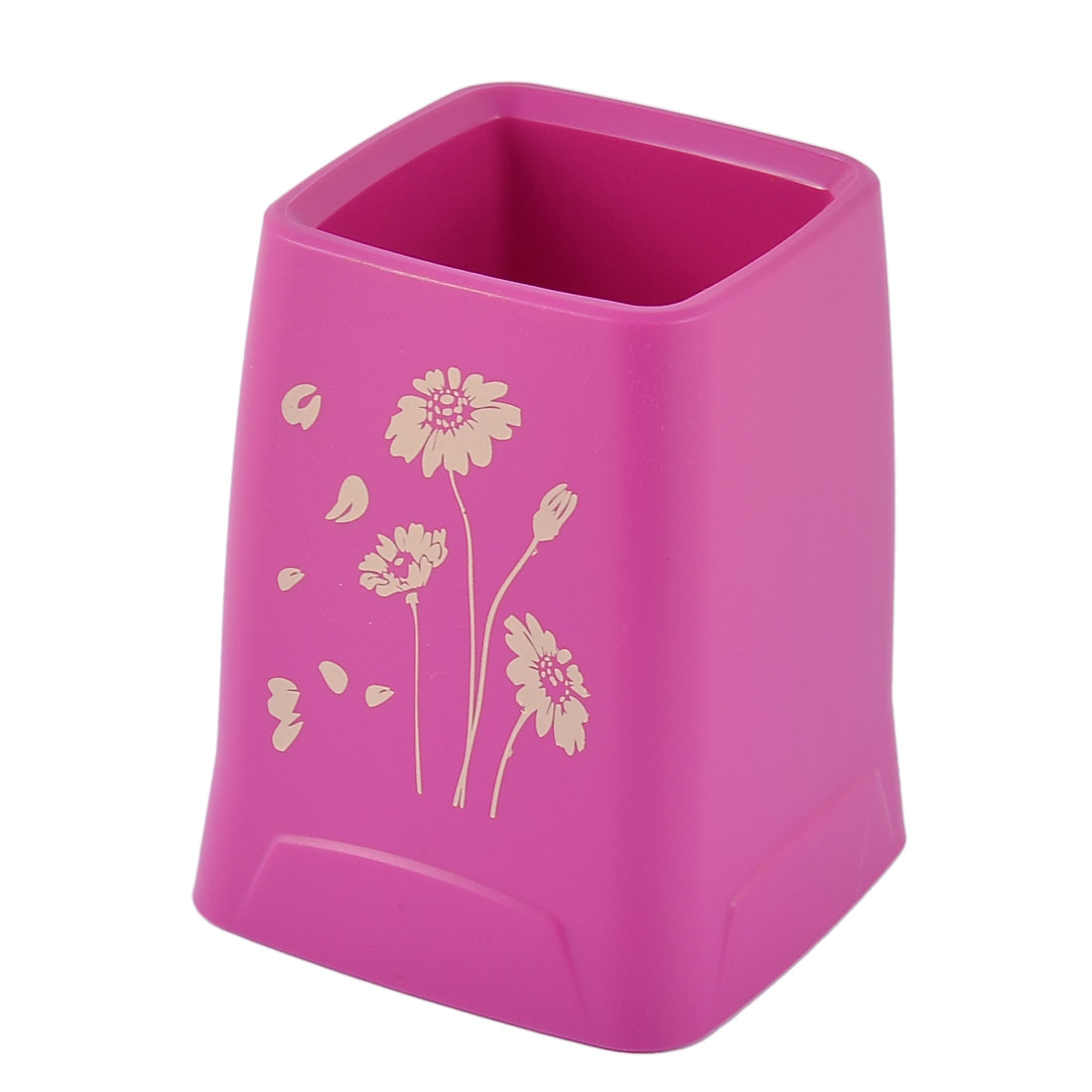 Office School Stationery Plastic Flower Pattern Pen Pencil Cup Container Tubular Penrack Brush Pot Rose Red