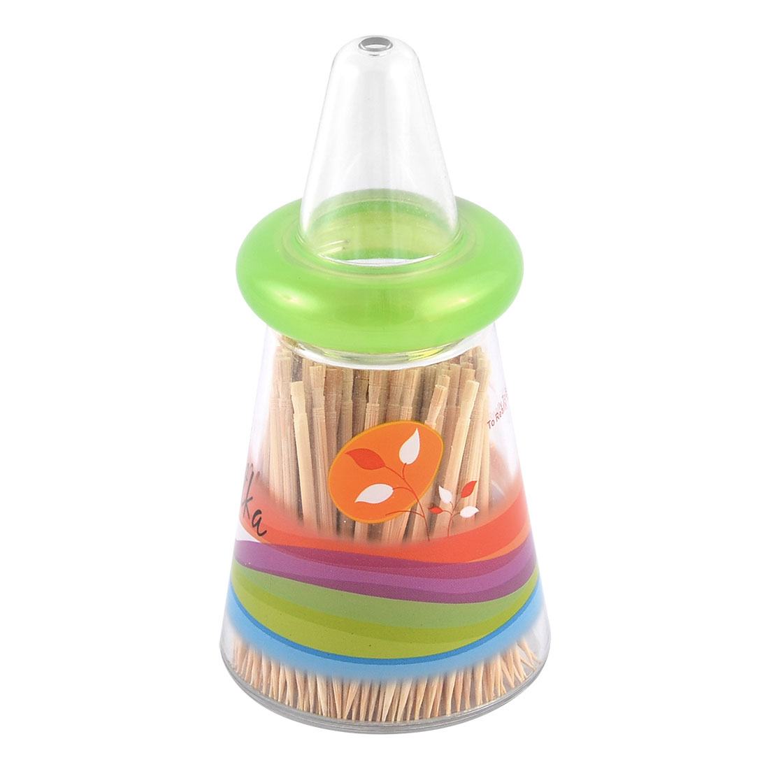 Home Cafe Plastic Taper Shaped Supper Toothpick Holder Container Storage Case Box Green
