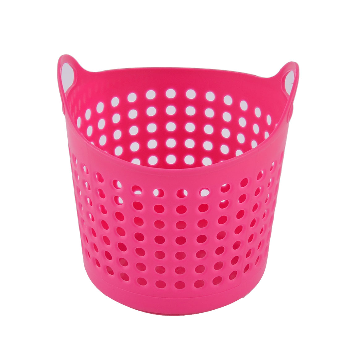 Home Office Desk Plastic Hollow Out Hanging Holder Storage Box Bucket Container Basket Dark Pink